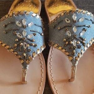 Jack Rogers Shoes - Jack Rogers Denim Beaded Sandals
